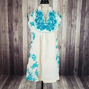 Silk Threads ivory & blue floral embroidered tunic
